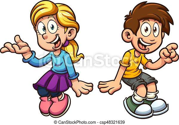 Boy and girl sitting - csp48321639