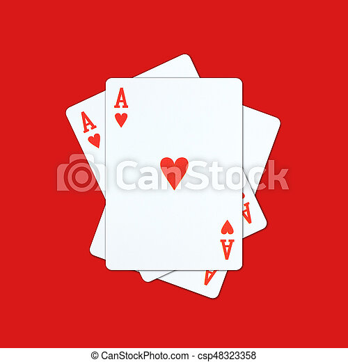 Ace playing cards on red background - csp48323358