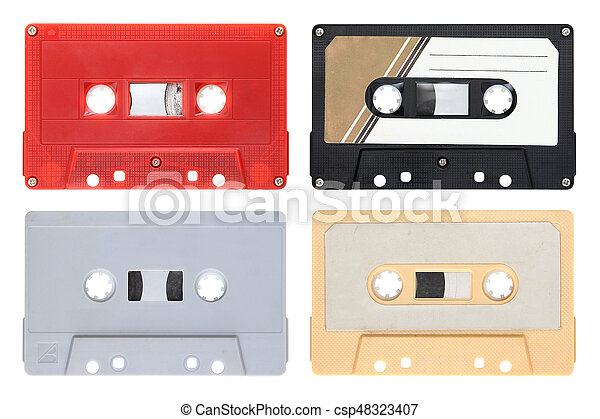 Audio cassettes isolated on background - csp48323407
