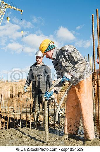 workers on concrete works - csp4834529