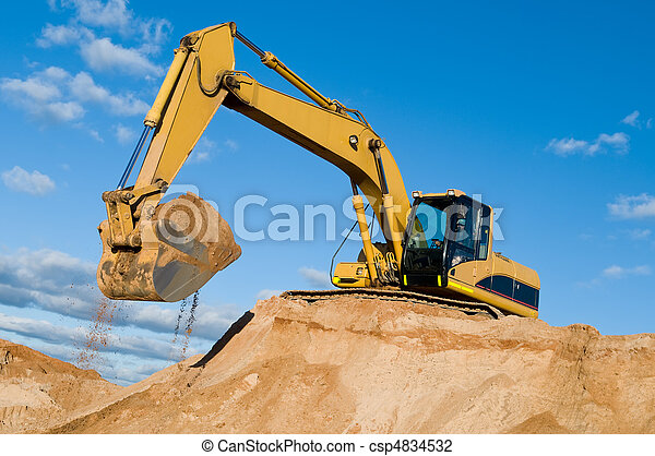 track-type loader excavator at sand quarry - csp4834532
