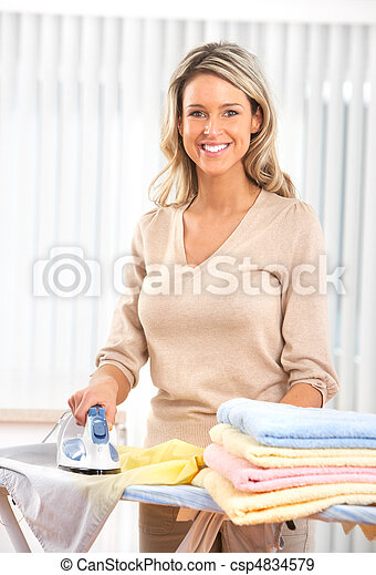 woman ironing clothes - csp4834579