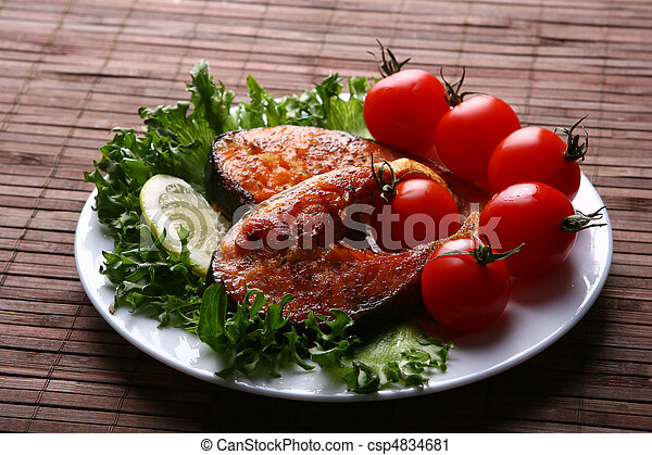 fresh salmon garnish with salad - csp4834681