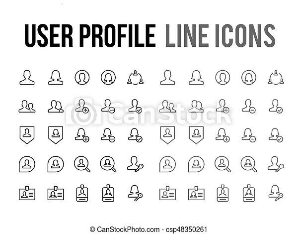 Profiel,  Website, beweeglijk,  Vector, gebruiker, Ontvankelijk, lijn,  App, pictogram - csp48350261
