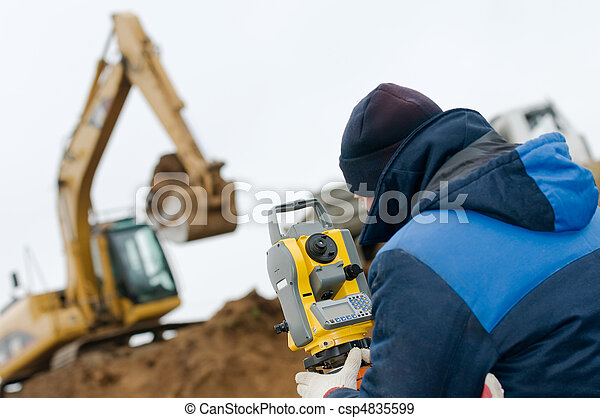 land surveying with theodolite - csp4835599
