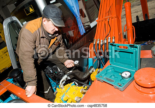 checking hydraulic system of machine - csp4835758