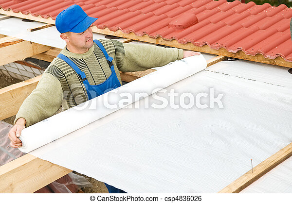 roofing works with protective layer foil - csp4836026