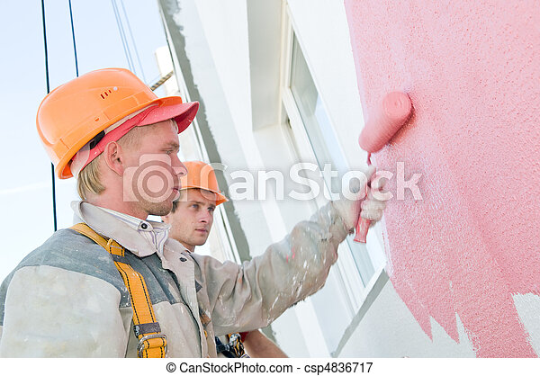 builder facade painters at work - csp4836717