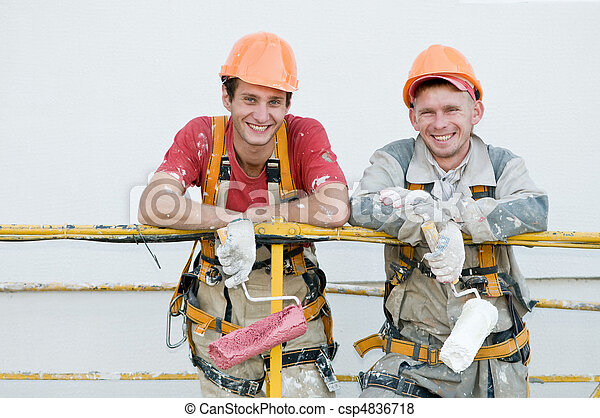 Happy builder facade painters - csp4836718
