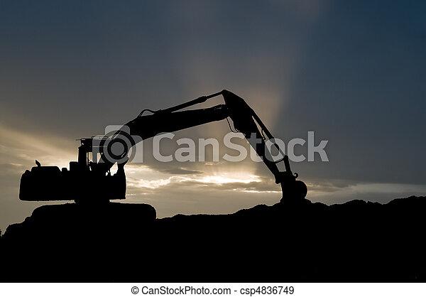 loader excavator silhouette - csp4836749