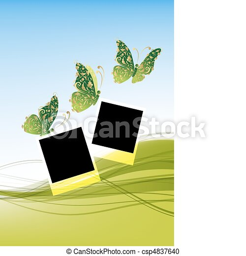 Green background with beautiful butterflies, insert your photos - csp4837640