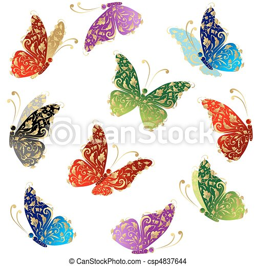 Beautiful art butterfly flying, floral golden ornament - csp4837644
