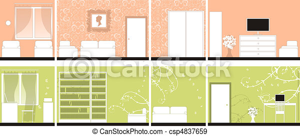 Interior design of rooms, all walls - csp4837659
