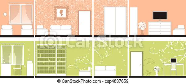 Interior design of rooms, all walls - csp4837659