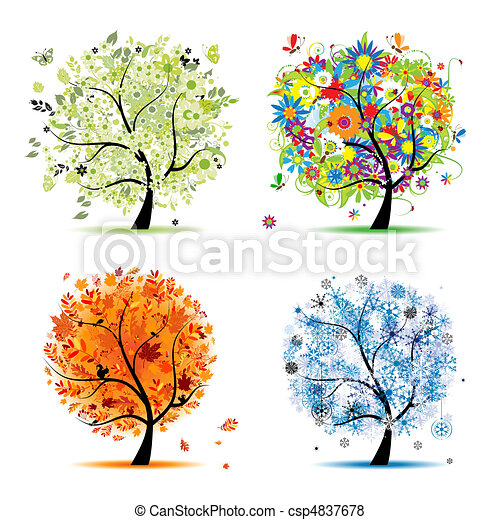 Four seasons - spring, summer, autumn, winter. Art tree beautiful for your design - csp4837678