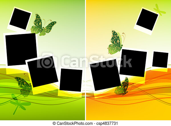 Collage design, insert your photos, background with beautiful butterflies - csp4837731