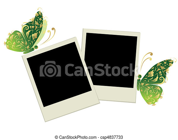 Two photo frames with butterfly decoration - csp4837733
