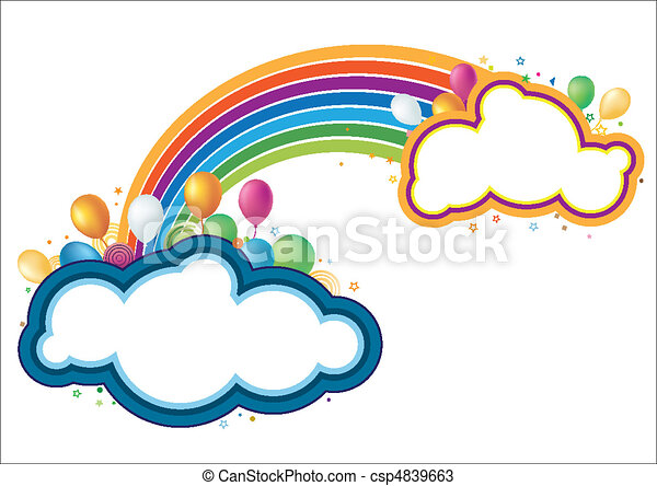vector balloons and rainbow - csp4839663