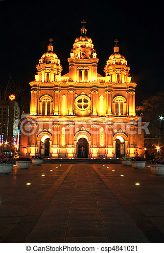 a church in the night - csp4841021