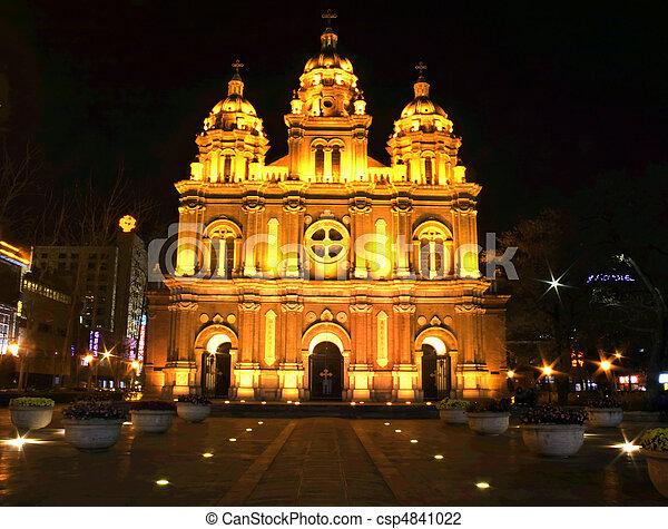 a church in the night - csp4841022