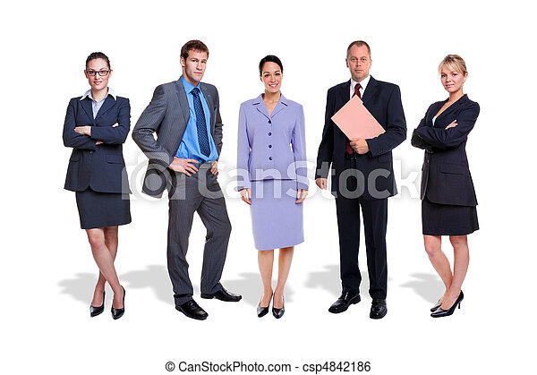 Business team five people isolated - csp4842186