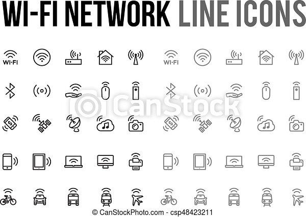 Website, netwerk, beweeglijk,  wifi,  Vector, Ontvankelijk, lijn,  App, pictogram - csp48423211