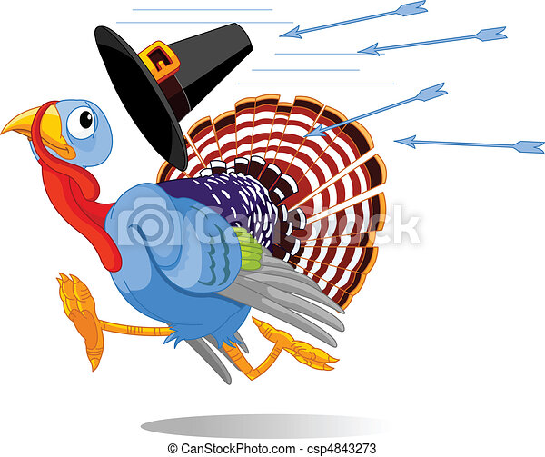 Cartoon Turkey escapes from the arr - csp4843273