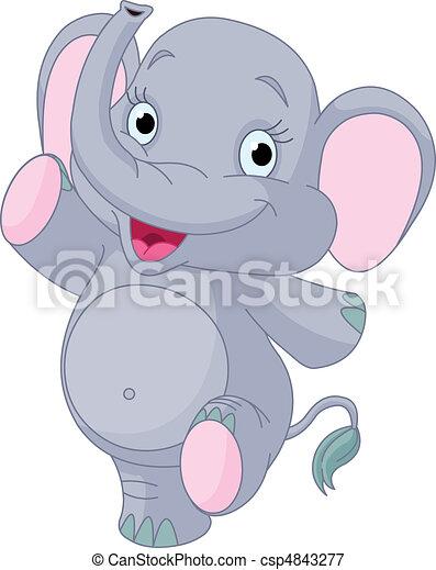 Baby elephant dancing - csp4843277