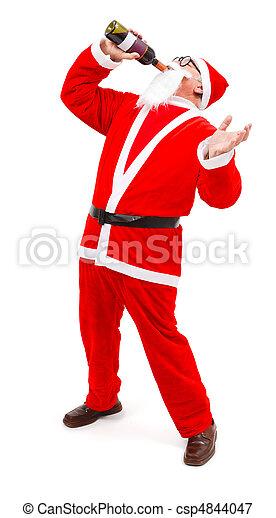 Drunken Santa drinking from wine bottle - csp4844047