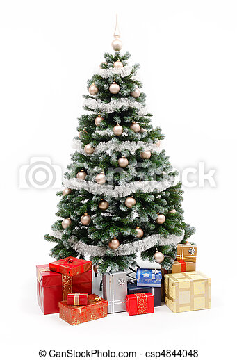 Christmas tree on white with presents - csp4844048