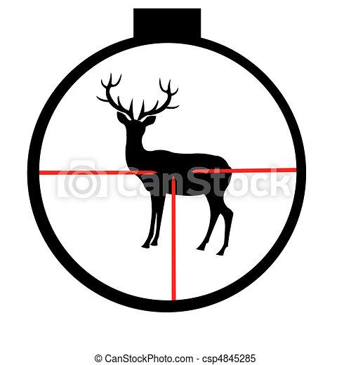 Wild deer in optical sight - csp4845285