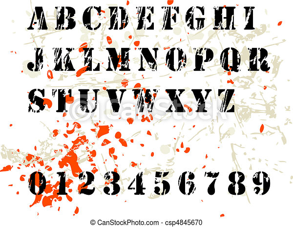 grunge alphabet - csp4845670