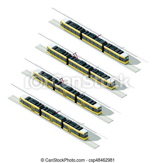 Tramway isometric icon set - csp48462981
