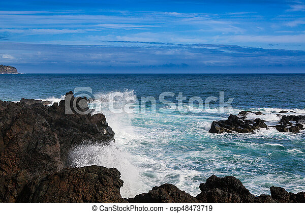 Wild coast at Lagoa on Sao Miguel Island - csp48473719