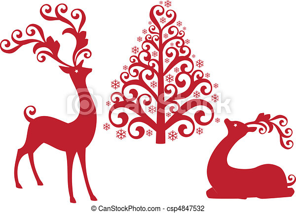 reindeer with christmas tree, vecto - csp4847532