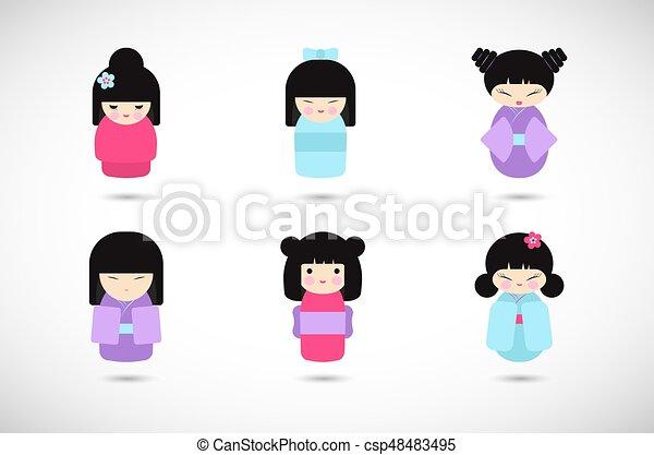 Kokeshi dolls vector flat icon set - csp48483495