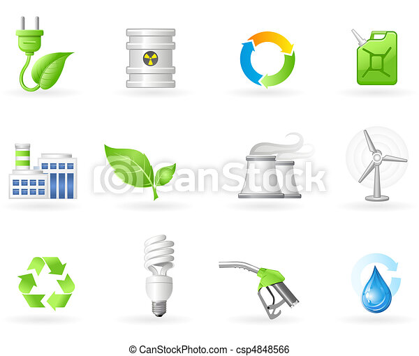 Air Pollution and Green Energy icon - csp4848566
