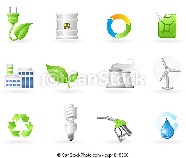 Levegő, szennyezés, és, zöld, energia, ikon - csp4848566