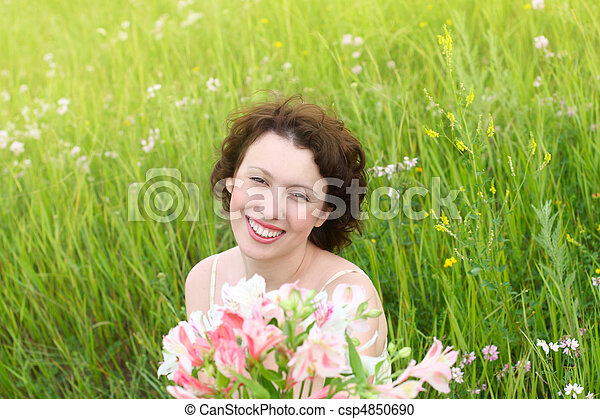 Beautiful women with flowers - csp4850690
