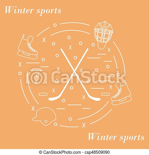 Vector illustration of various subjects for hockey arranged in a circle. Including icons of helmet, skates, goalkeeper mask, stick, puck. - csp48509090