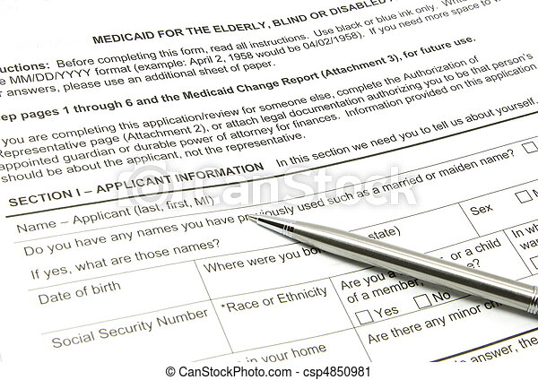 Medicaid Application and Silver Pen - csp4850981