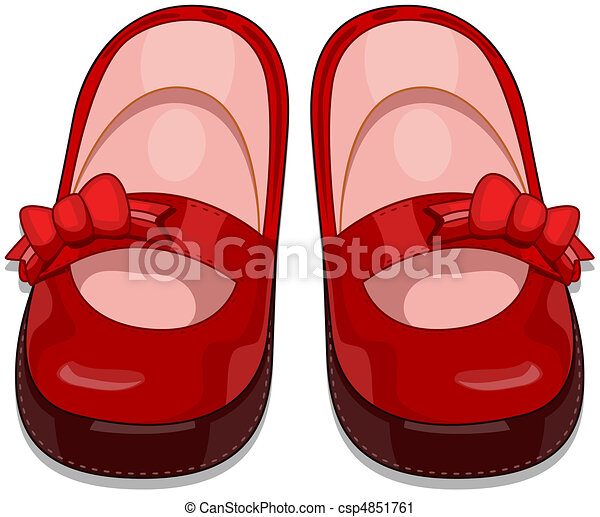 Clipart of Baby Shoes - Illustration of a Pair of Baby ...
