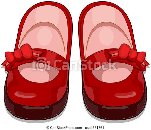 Clipart de bebé zapatos - Illustration, de, un, Pair, de ...