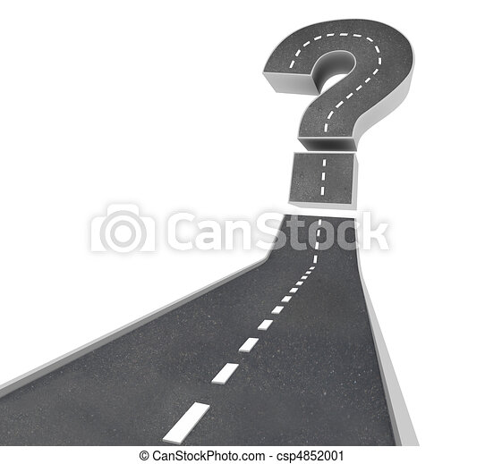 Question Mark on Road - Uncertainty - csp4852001