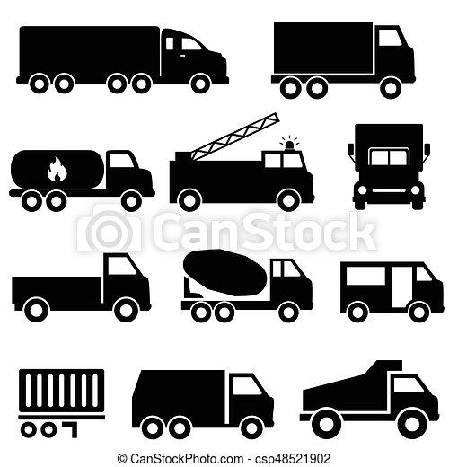 Trucks and transportation icon set - csp48521902