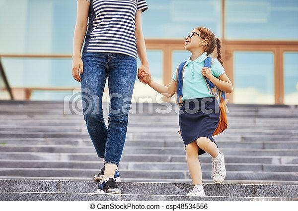 Parent and pupil go to school - csp48534556
