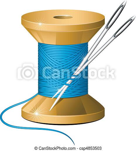 Spool of thread and needles - csp4853503