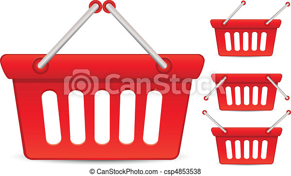 Set of colorful baskets with different position of Handle Baskets, vector illustration - csp4853538