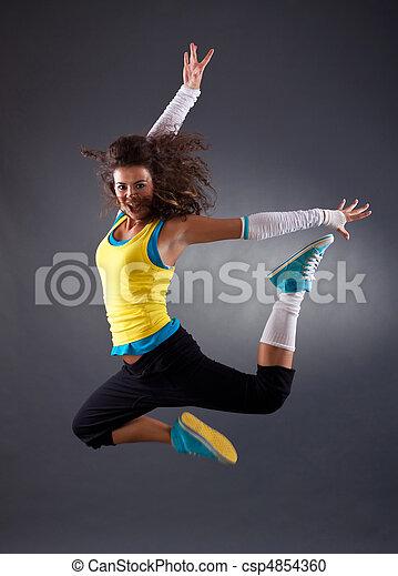 hip hop dancer jumping - csp4854360