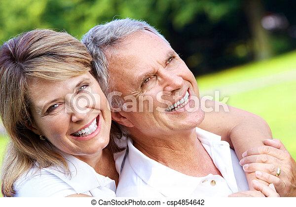 senior couple in park - csp4854642